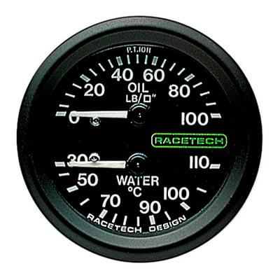 Racetech Oil Pressure – Water Temperature Dual Gauge