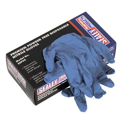 Sealey Premium Powder Free Disposable Nitrile Gloves Pack of 100 – SSP555
