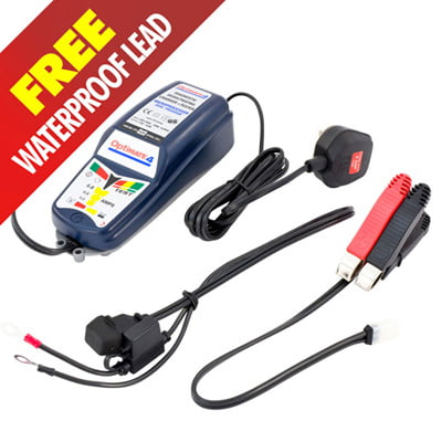 Optimate 4 Dual Program Charger With FREE Extra Waterproof Battery SAE Lead