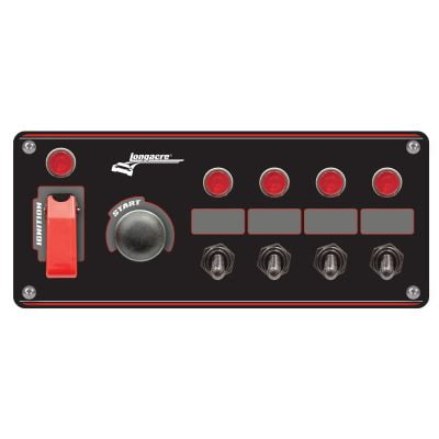 Longacre Black Ignition Switch Panel With Flip Up Cover & 4 Accessory Switches