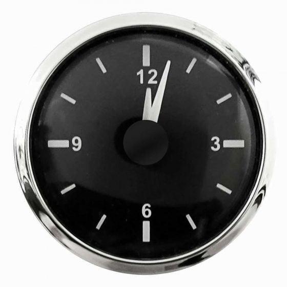 E-Tech Engineering Analogue Clock – 52mm – Black Bezel, Black