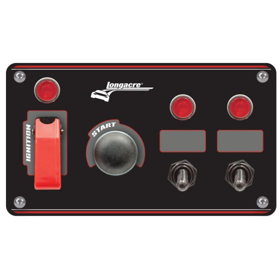 Longacre Black Ignition Switch Panel With Flip Up Cover & 2 Accessory Switches