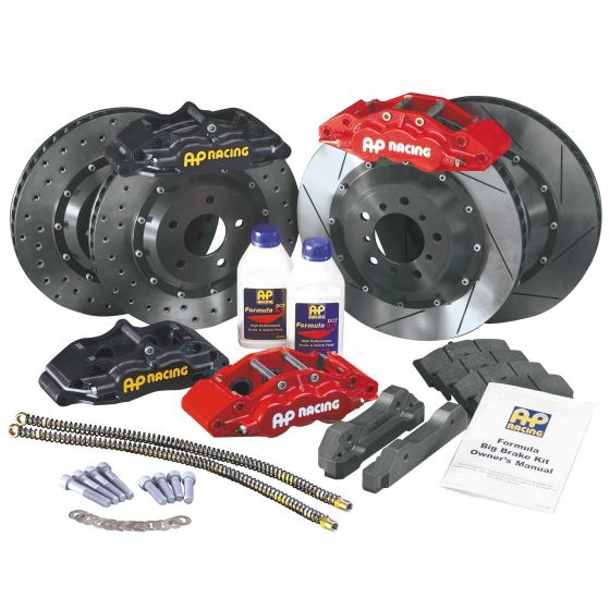 A P Racing Formula Big Brake Front Kit – 304mm Drilled Discs – Red 4 Piston Calipers, 304mm Drilled Discs – Mini 16 Inch Aftermarket Wheels, Red
