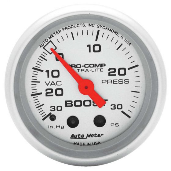 Auto Meter Boost Pressure 52mm Mechanical Pro Comp Ultralite Gauge – -30 To 20 Psi, Silver