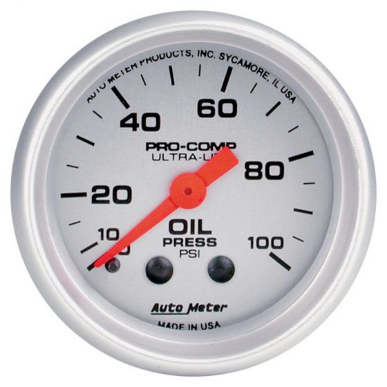 Auto Meter Oil Pressure 52mm Mechanical Pro Comp Ultralite Gauge, Silver