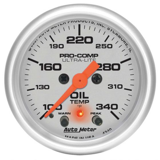 Auto Meter Oil Temperature Pro Comp Ultralite 52mm Electrical Gauges 100-340F, Silver