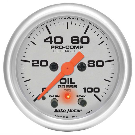Auto Meter Oil Pressure Pro Comp Ultralite 2 1/6 Inch (52mm) Electrical Gauge, Silver