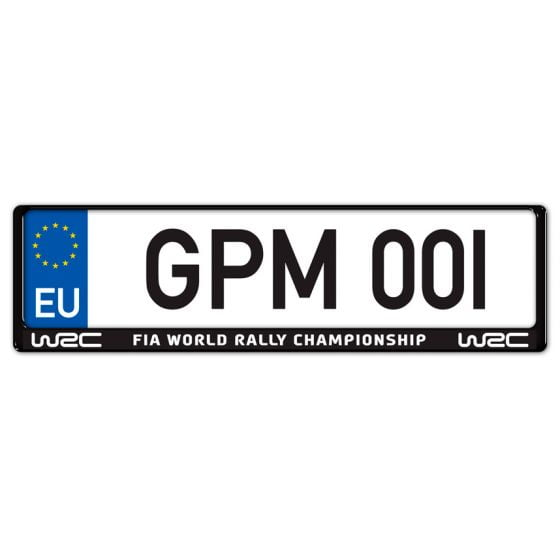 Auto-Style WRC Number Plate Surround – World Rally Championship White on Black