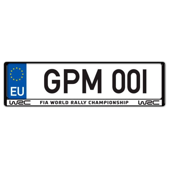 Auto-Style WRC Number Plate Surround – World Rally Championship Black on White