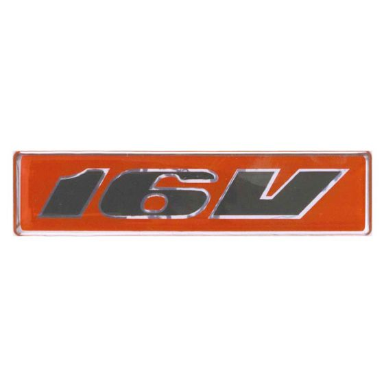 Auto-Style 16V Decal Badge – Red/Black Italic Each