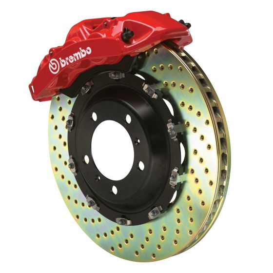 Brembo Gran Turismo Big Brake Front Kit – 332 x 32mm 1 Piece Drilled Discs – Red 4 Piston Calipers, 332x32mm 1 Piece Drilled Discs, Red