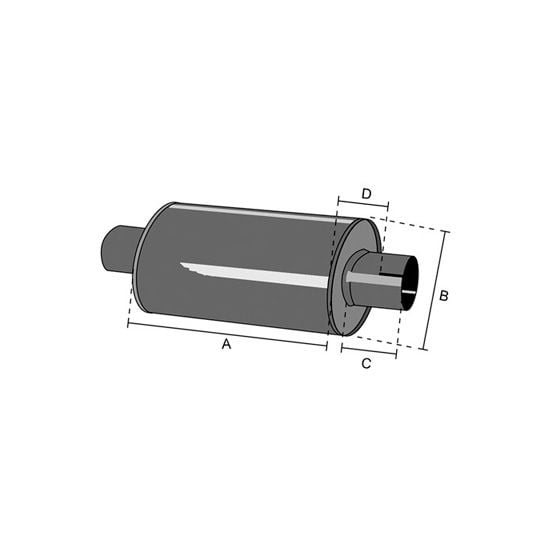 Jetex Universal Exhaust Silencer – 2.5 Inch Outlets, Round 415mm Case, Aluminised Steel