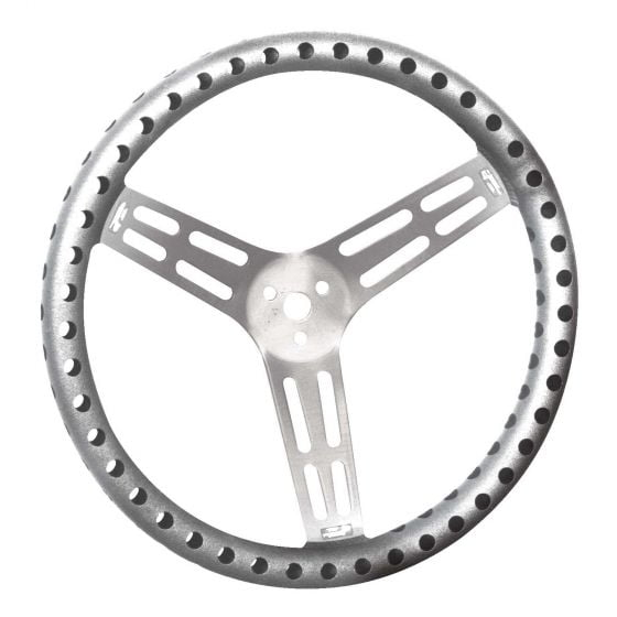 """Longacre Ultra Lightweight Uncovered Alloy Steering Wheels – 15"""" uncoated aluminium drilled 2.5"""" dish"""