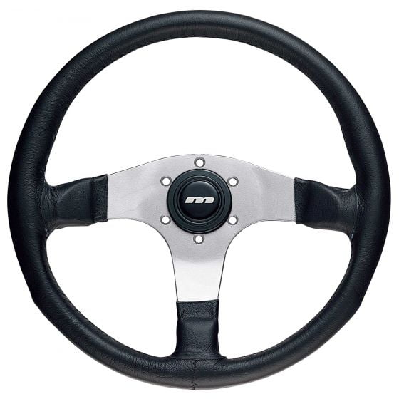 Mountney 3 Spoke Leather Steering Wheel – Silver Spokes, 340mm