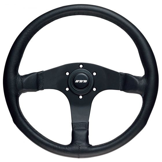 Mountney 3 Spoke Leather Steering Wheel – Black Spokes, 340mm