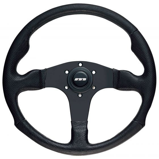 Mountney 3 Spoke Polyurethane Steering Wheel – Black Spokes, 340mm