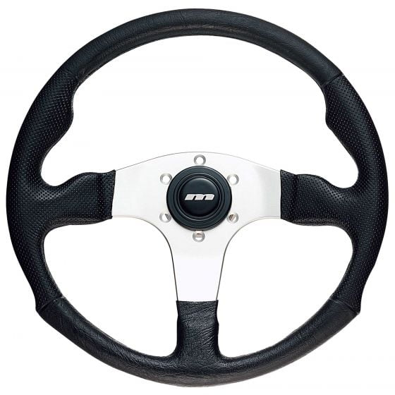 Mountney 3 Spoke Polyurethane Steering Wheel – Silver Spokes, 340mm