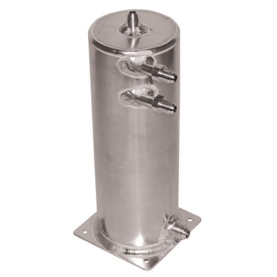 OBP Base Mounted Fuel Swirl Pot Extended JIC Fittings – 2 Litre 100mm Diameter x 280mm Height 3x-6JIC 1x-8JIC