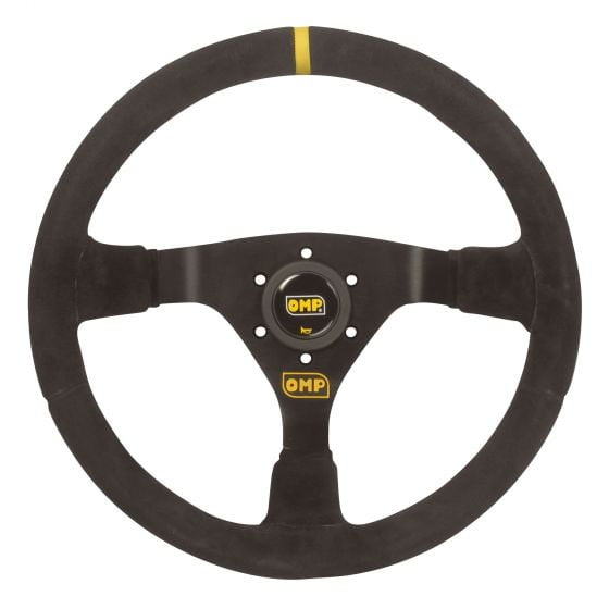 OMP WRC Steering Wheel – Suede, 350mm, Black/Black Spokes