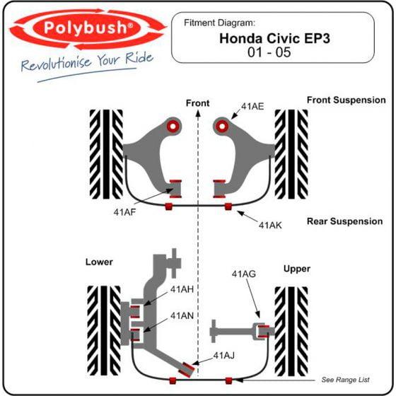Polybush Rear Lower Arm Outer Arm To Hub Bush Forward Bush 1 P/S Of 2 REF 41AH – Red Performance