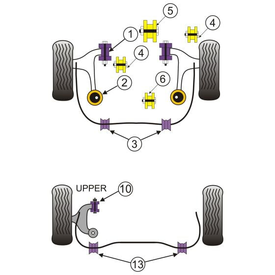 Powerflex Single Black Series Engine Mounting Gearbox Rear – Appears in Position 11 on Diagram