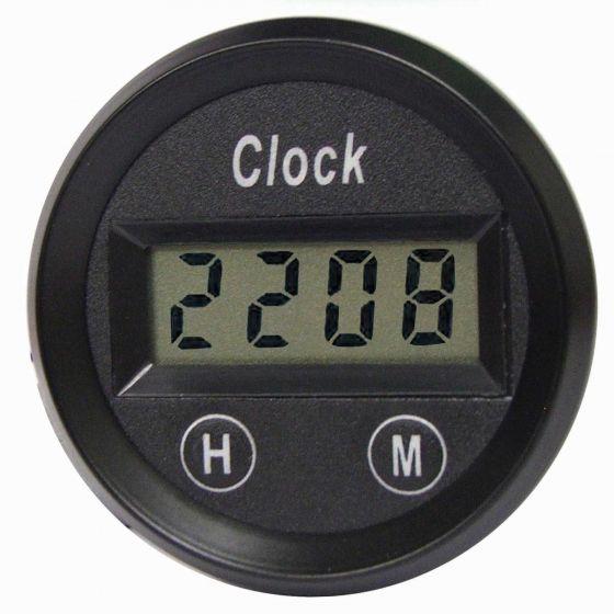 E-Tech Engineering Digital Quartz Clock – 52mm, Black