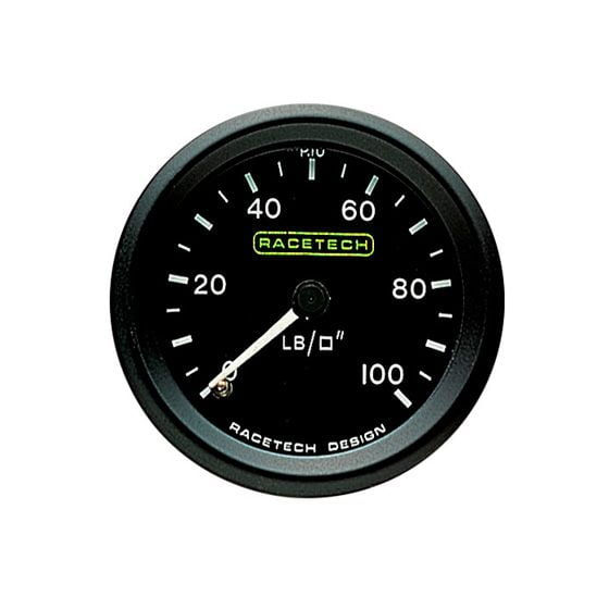 Racetech Oil Pressure Gauge – Mechanical – 0-100 Psi Standard 1/8 Bsp Pipe Fitting, Black