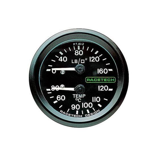 Racetech Oil Pressure – Temperature Dual Gauge – 9 Ft Long Capillary, Black