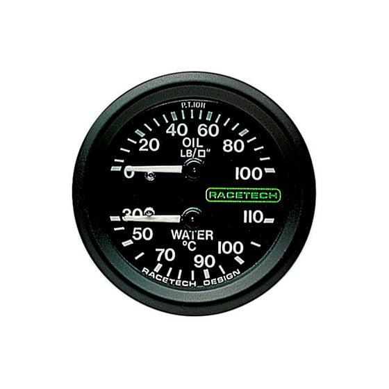 Racetech Oil Pressure – Water Temperature Dual Gauge – 12 Ft Long Capillary, Black
