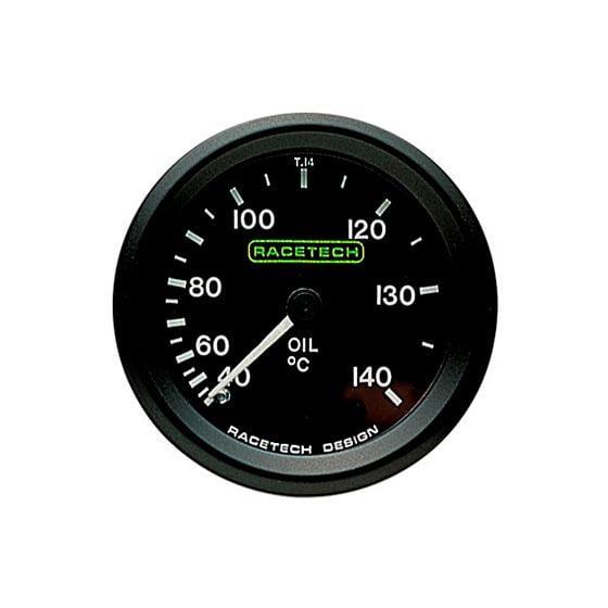 Racetech Oil Temperature Gauge – Mechanical – 7 Ft Long Capillary, Black