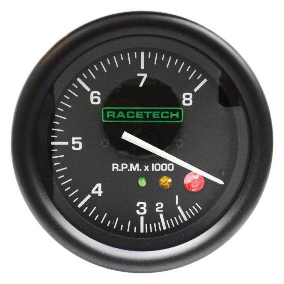 Racetech 80mm Tachometer with Shift Light – 0-12,000 Rpm, Black