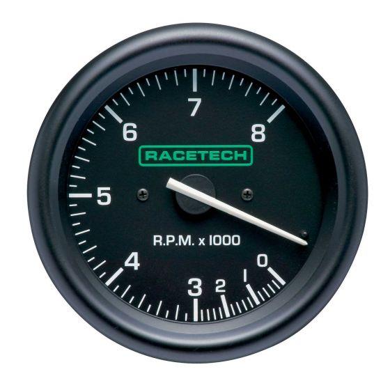 Racetech 80mm Tachometer – 0-8,000 Rpm, Black