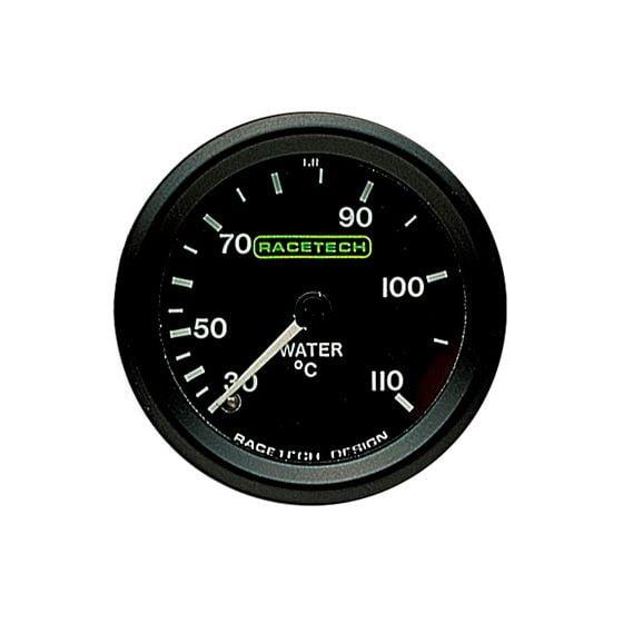 Racetech Water Temperature Gauge – Mechanical – 7 Ft Long Capillary, Black
