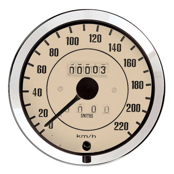 Smiths Classic Speedometer – 100mm Diameter 0-140 Mph Magnolia Face Chrome Bezel, Cream