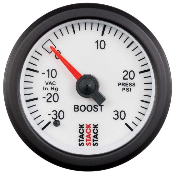 Stack Turbo Boost Pressure Gauge – Mechanical – White Dial Face 30inHg To 30 Psi, White