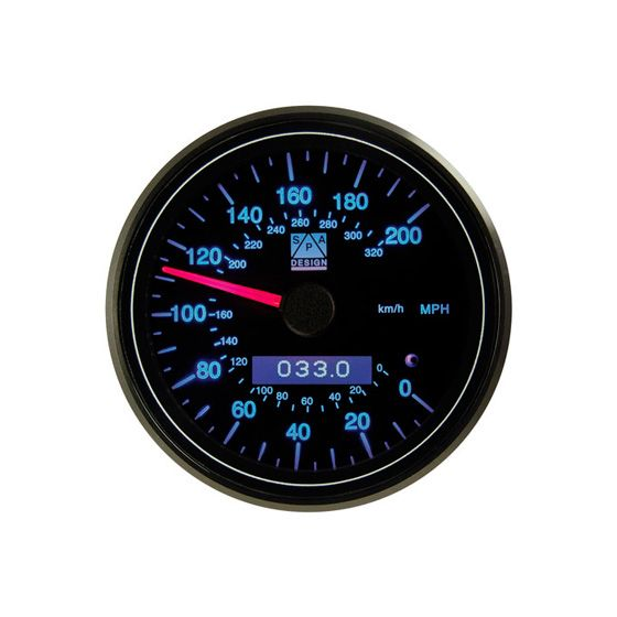 SPA Design Professional 80mm Speedometer – 0-200 Mph Blue Back Light, Black