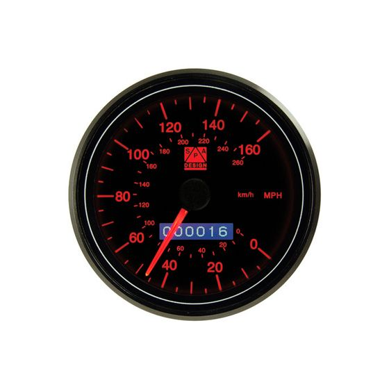 SPA Design Professional 80mm Speedometer – 0-160 Mph Red Back Light, Black