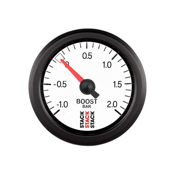 Stack Turbo Boost Pressure Gauge – Mechanical – White Dial Face -1 To + 2 Bar, White