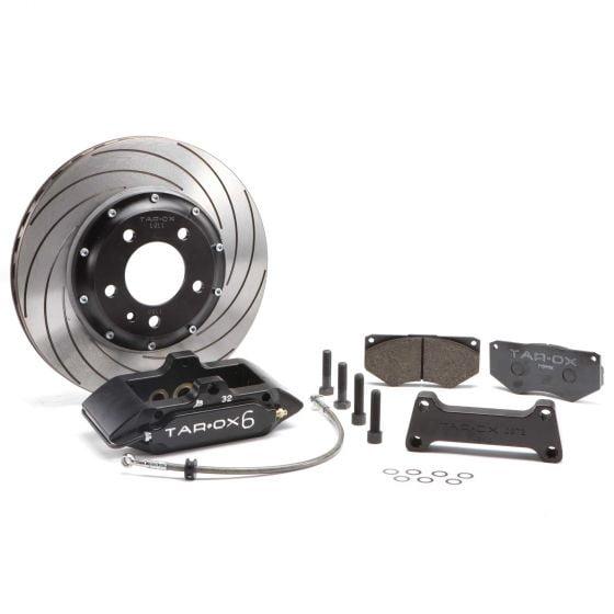 """Tarox Sport Front Big Brake Kit – Black 6 Pot Calipers 335x26mm F2000 Discs – Black 6 Pot Calipers 335x26mm F2000 Discs Strada 113 Pads Min 18"""" Wheels, Black"""