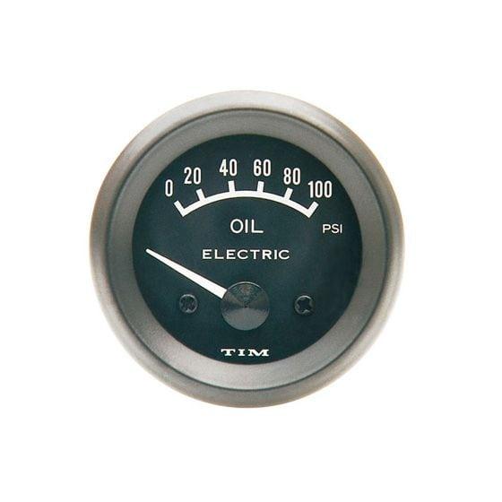 TIM Oil Pressure Gauge – Electrical – Black Dial Face, Black