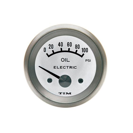 TIM Oil Pressure Gauge – Electrical – White Dial Face, White