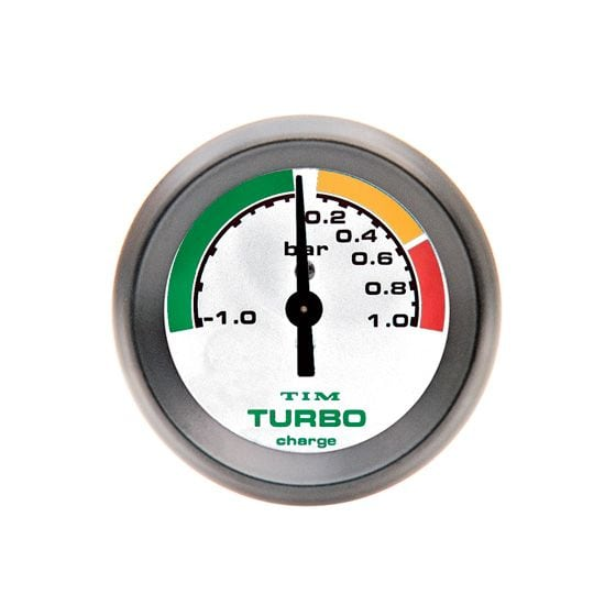TIM Turbo Boost Gauge – -1 to 1 Bar White Dial Face, White