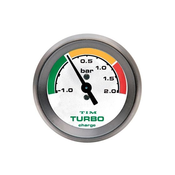 TIM Turbo Boost Gauge – -1 to 2 Bar White Dial Face, White
