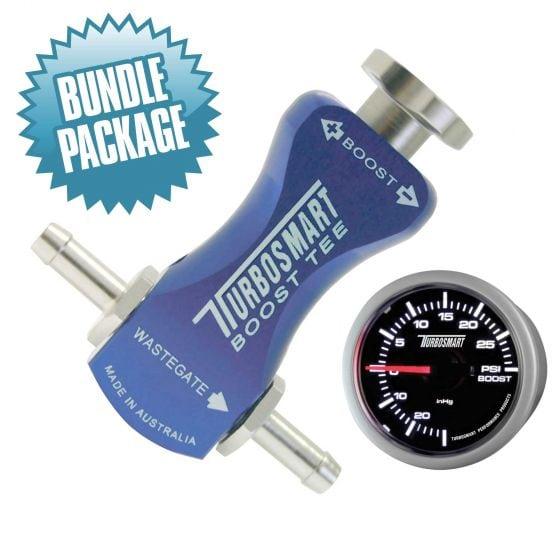 Turbosmart Boost Gauge & Boost Tee Controller Bundle Package – Blue Boost Tee, Blue