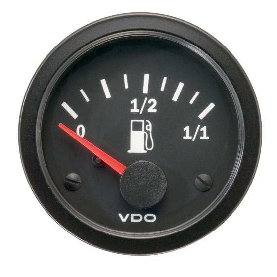VDO Vision Fuel Level Gauge – For Float Arm Type Sender, Black
