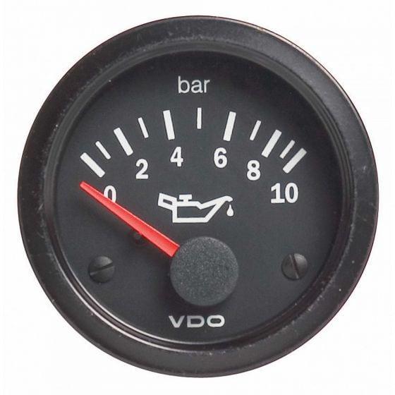 VDO Vision Oil Pressure Gauge – 0-10 Bar, Black