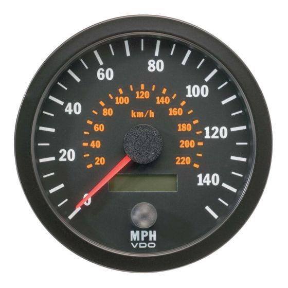 VDO Vision Range Speedometer – 80mm Diameter 140 Mph / 220 Kph, Black