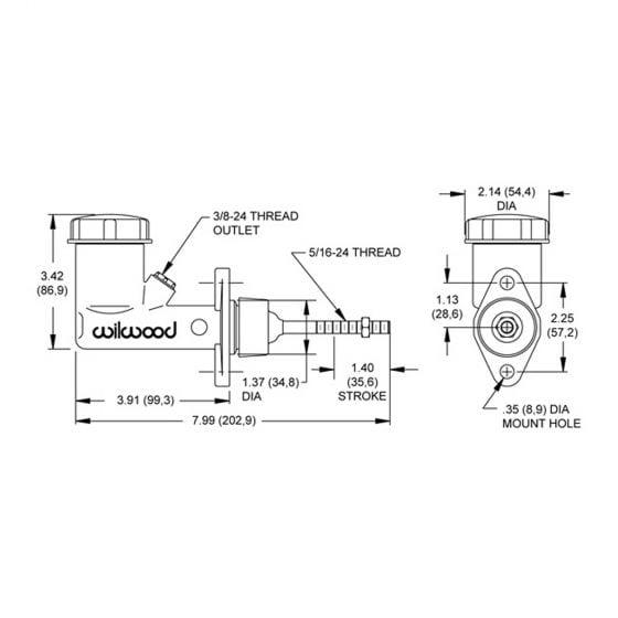 "Wilwood Compact Integral Reservoir Master Cylinder – 0.625"" Bore"