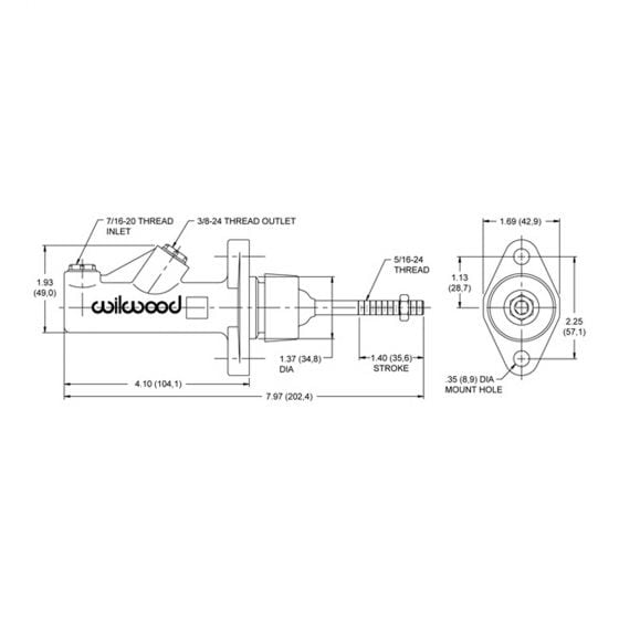 Wilwood Compact Remote Reservoir Brake Master Cylinders – 0.625 (5/8) Inch Bore