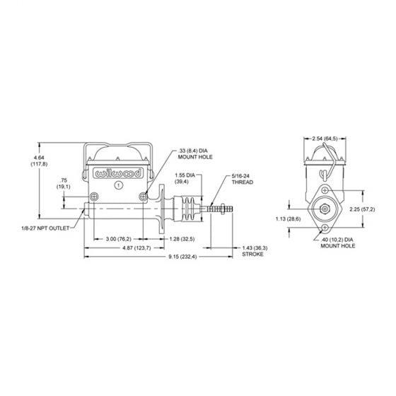 "Wilwood High Volume Integral Reservoir Master Cylinders – 1.0"" Bore"